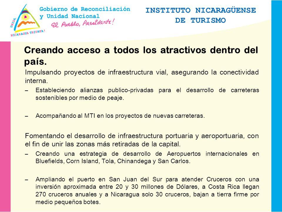 Creando acceso a todos los atractivos dentro del país.