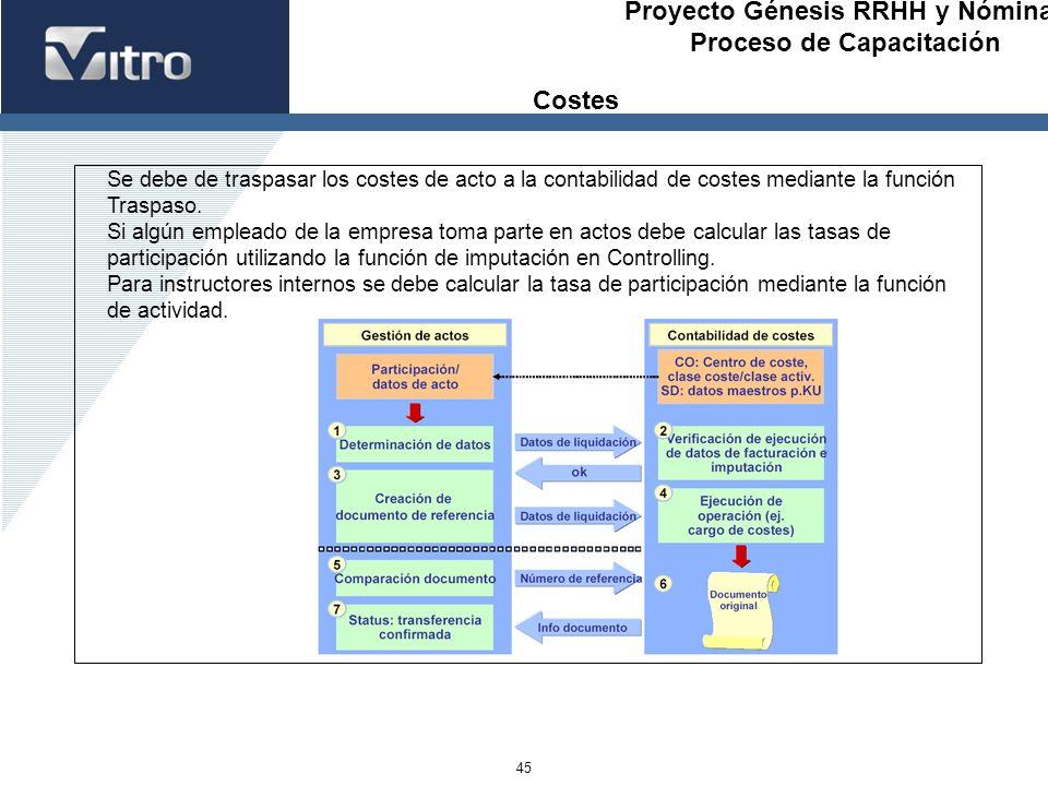 CostesSe debe de traspasar los costes de acto a la contabilidad de costes mediante la función. Traspaso.