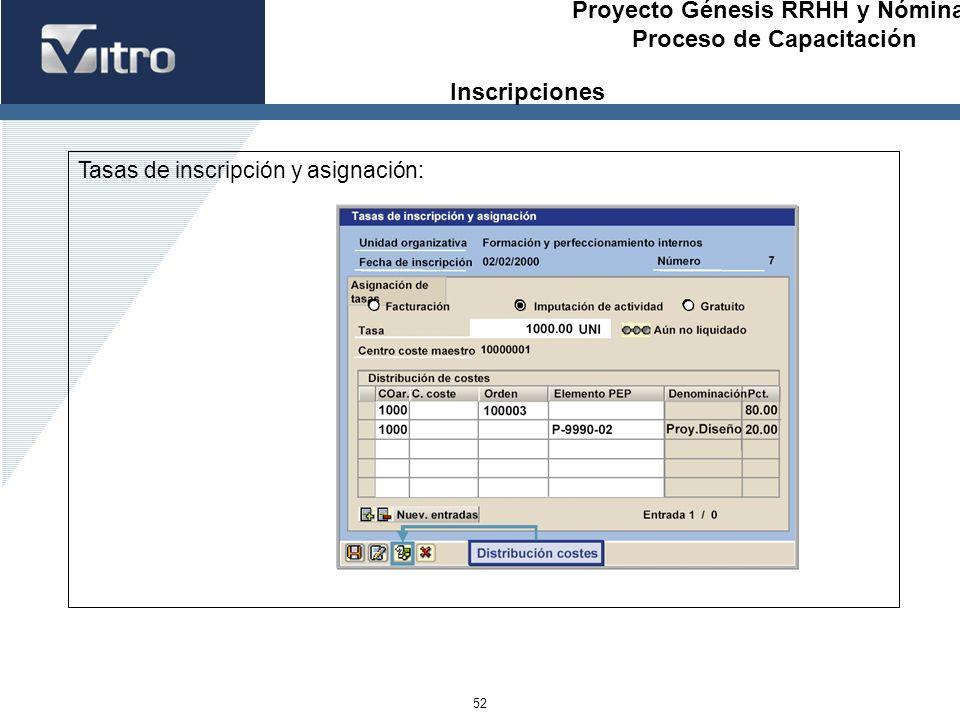 Inscripciones Tasas de inscripción y asignación: