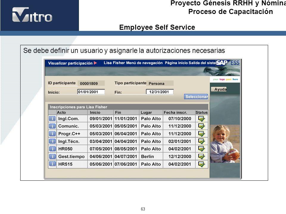 Employee Self Service Se debe definir un usuario y asignarle la autorizaciones necesarias