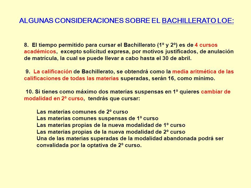 ALGUNAS CONSIDERACIONES SOBRE EL BACHILLERATO LOE: