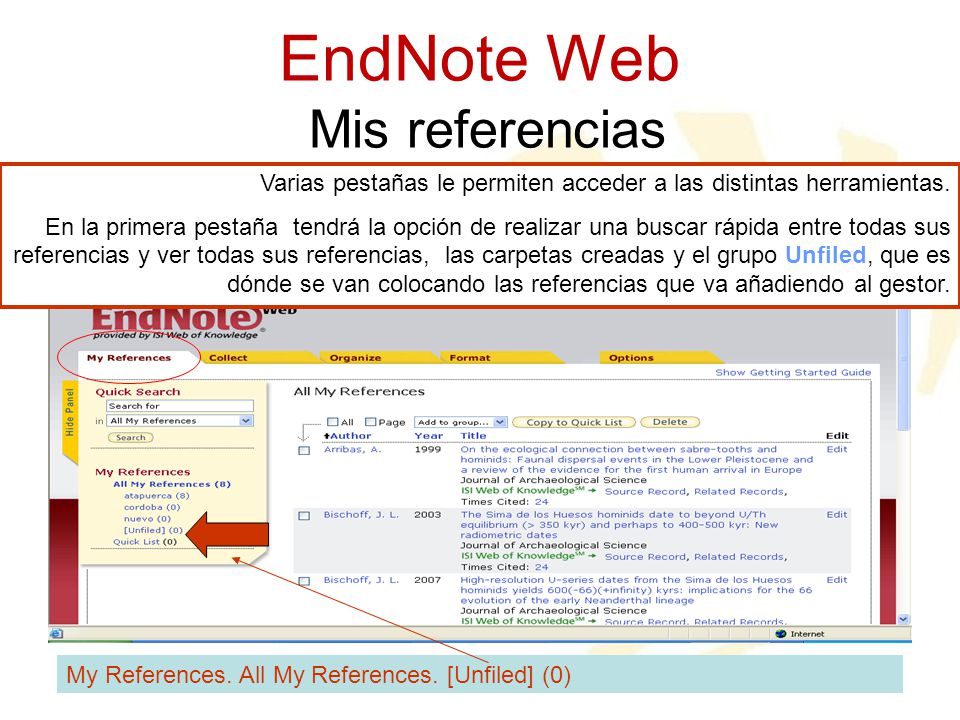 EndNote Web Mis referencias