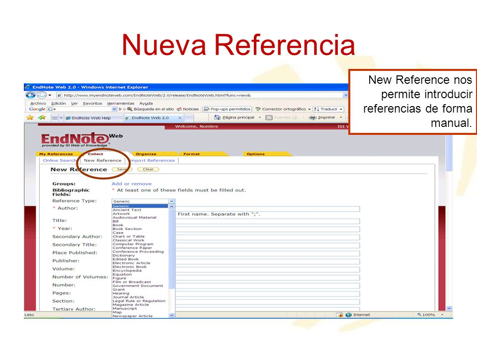 Nueva Referencia New Reference nos permite introducir referencias de forma manual.