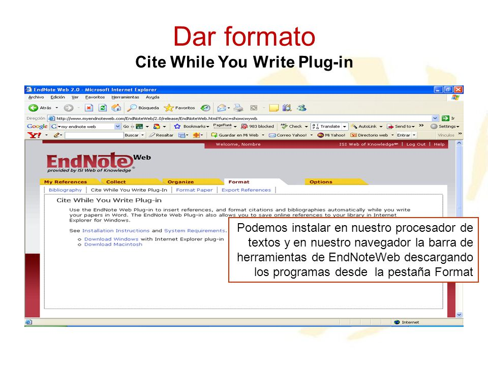 Dar formato Cite While You Write Plug-in