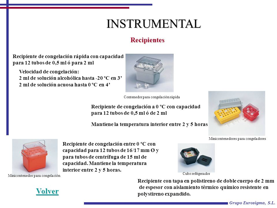 INSTRUMENTAL Volver Recipientes