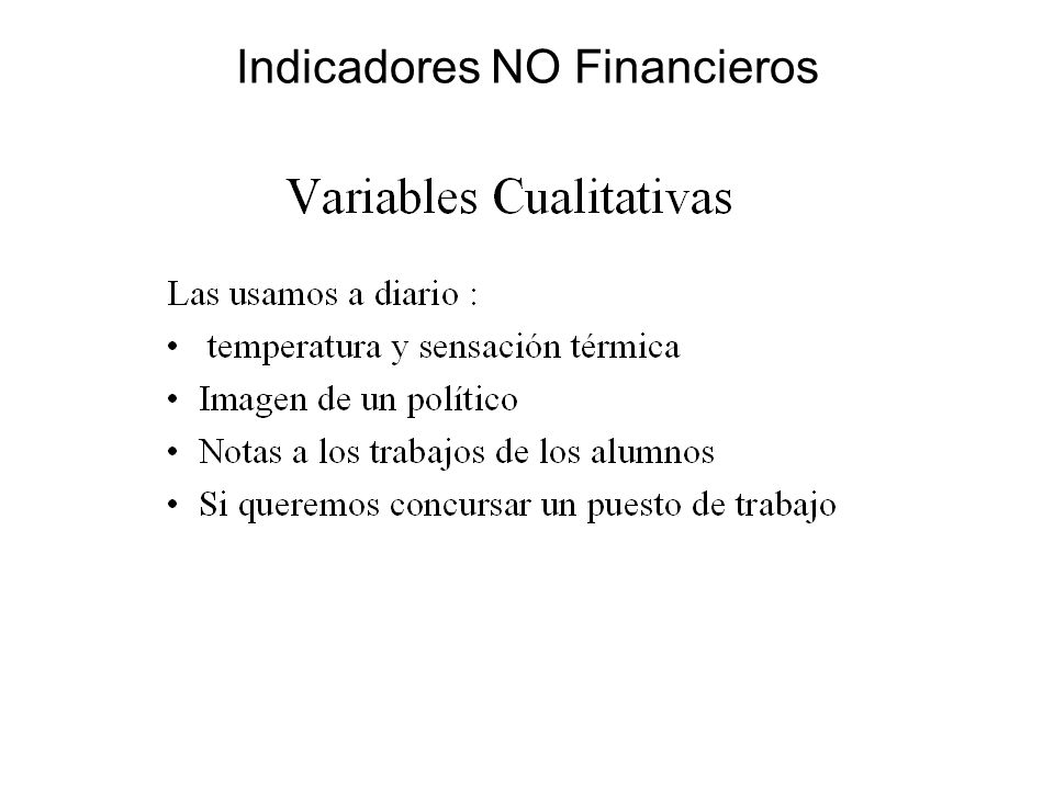 Indicadores NO Financieros