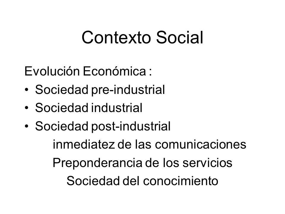 Contexto Social Evolución Económica : Sociedad pre-industrial