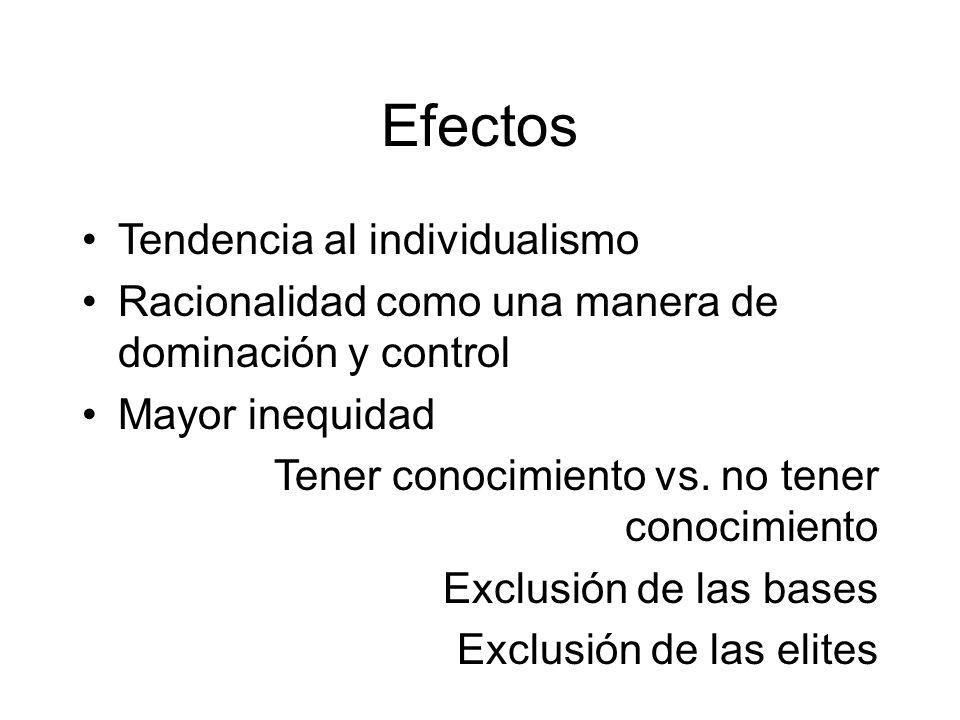 Efectos Tendencia al individualismo