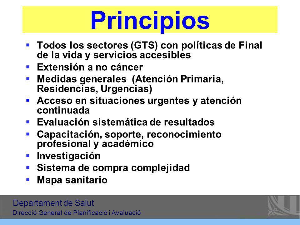 Principios Todos los sectores (GTS) con políticas de Final de la vida y servicios accesibles. Extensión a no cáncer.