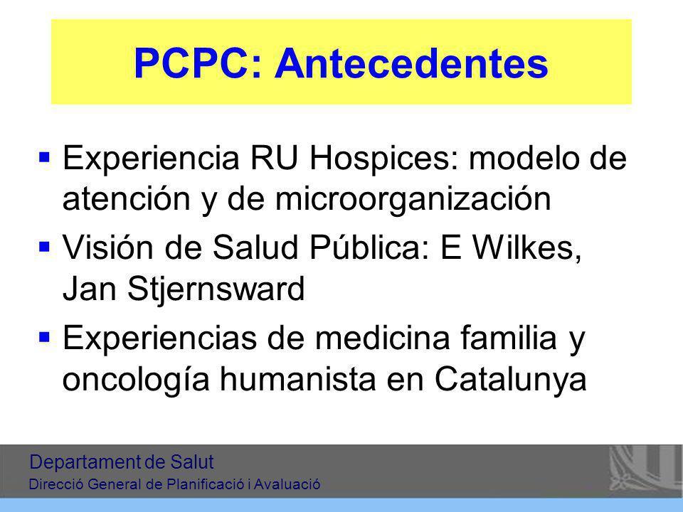 PCPC: Antecedentes Experiencia RU Hospices: modelo de atención y de microorganización. Visión de Salud Pública: E Wilkes, Jan Stjernsward.