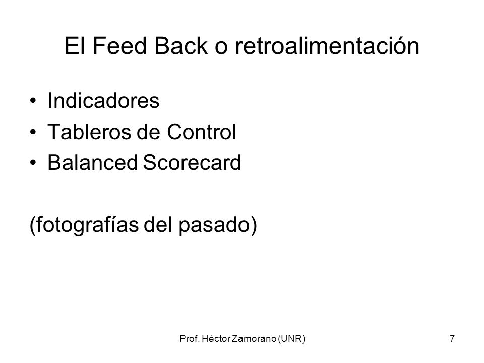 El Feed Back o retroalimentación