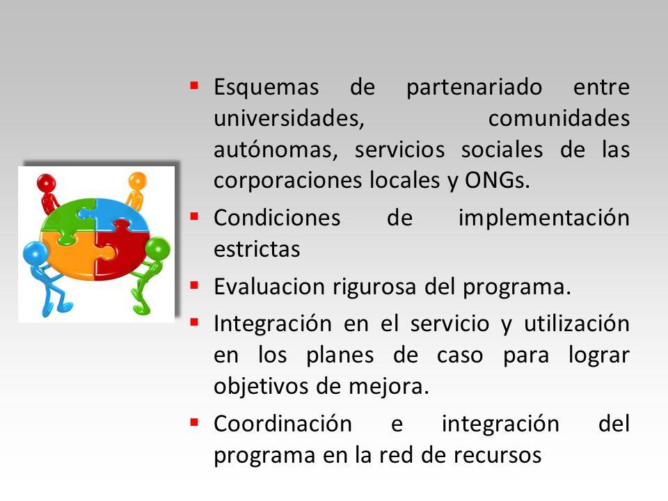 Esquemas de partenariado entre universidades, comunidades autónomas, servicios sociales de las corporaciones locales y ONGs.
