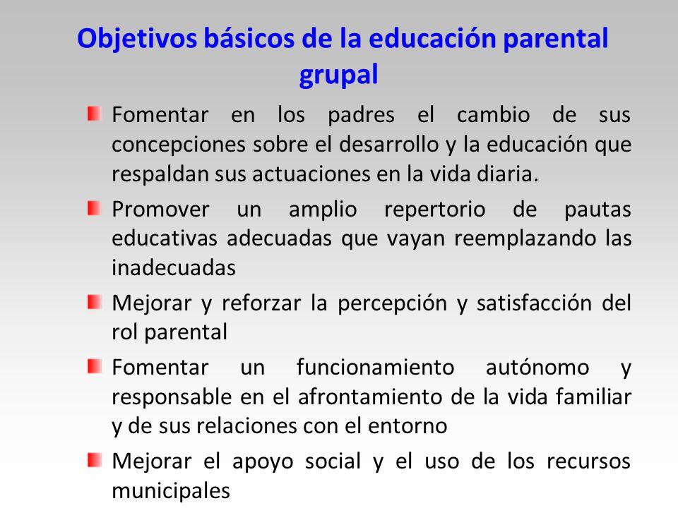 Objetivos básicos de la educación parental grupal