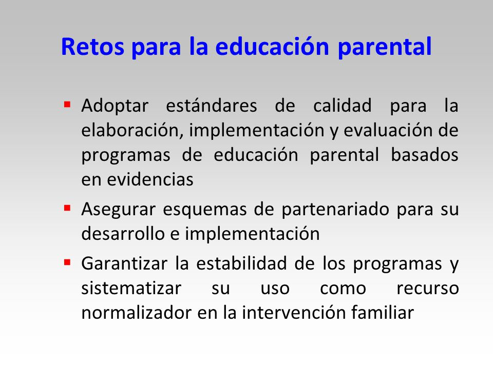 Retos para la educación parental
