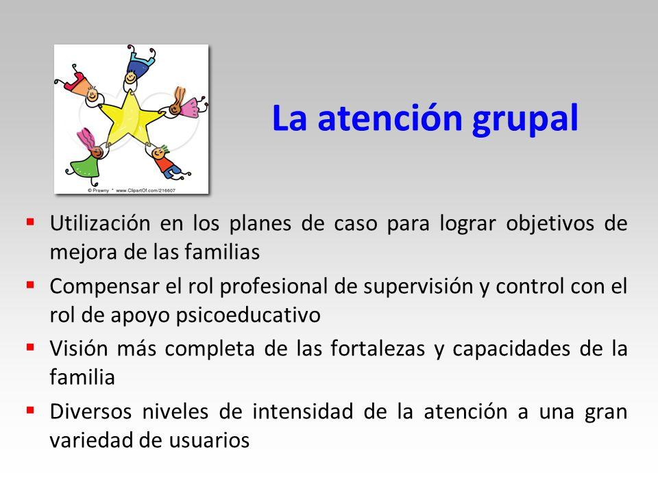 La atención grupal Utilización en los planes de caso para lograr objetivos de mejora de las familias.