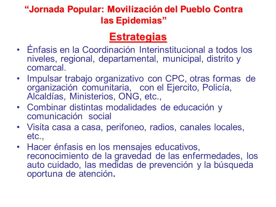 Jornada Popular: Movilización del Pueblo Contra las Epidemias