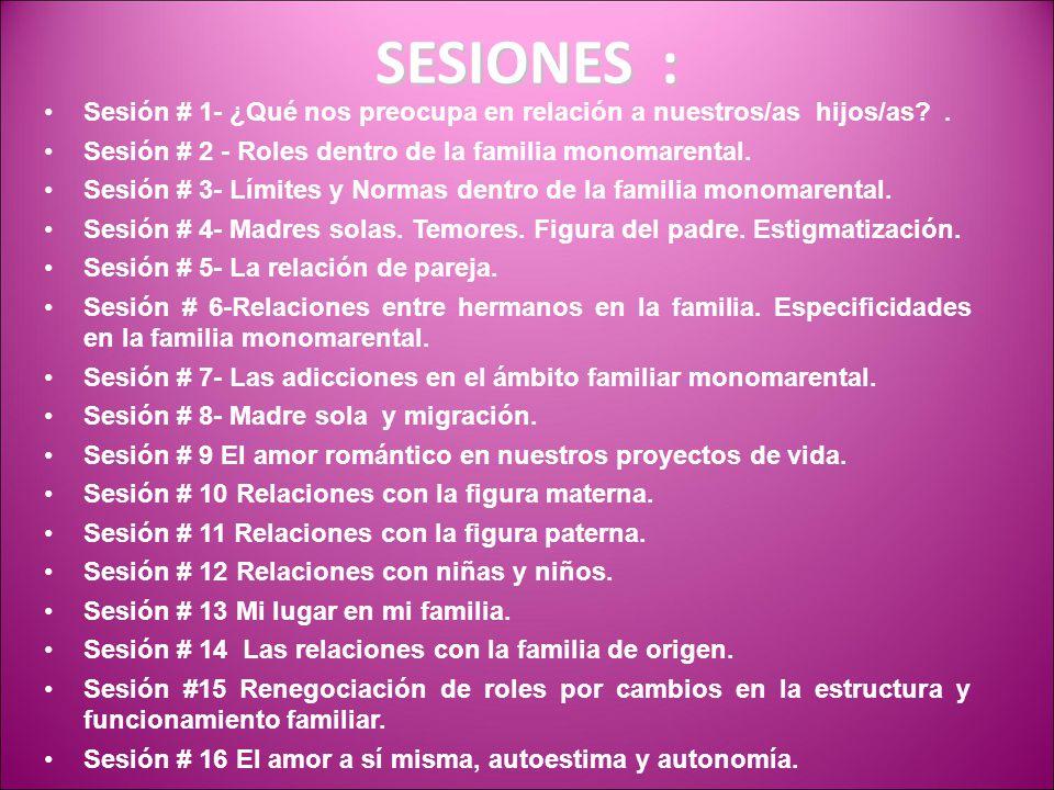 SESIONES : Sesión # 1- ¿Qué nos preocupa en relación a nuestros/as hijos/as . Sesión # 2 - Roles dentro de la familia monomarental.