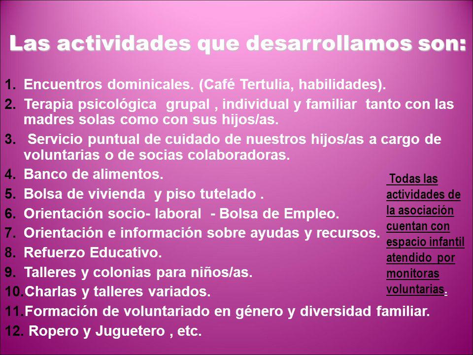 Las actividades que desarrollamos son:
