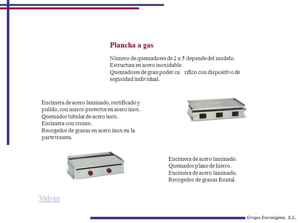 Plancha a gas Volver Número de quemadores de 2 a 5 depende del modelo.
