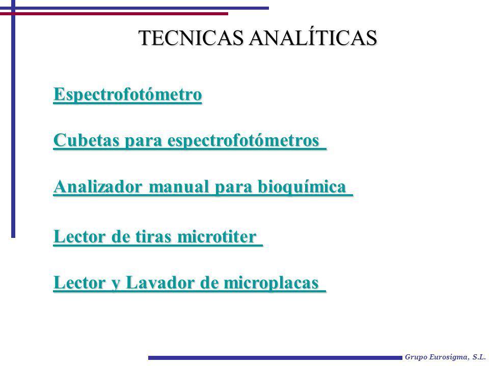 TECNICAS ANALÍTICAS Espectrofotómetro Cubetas para espectrofotómetros