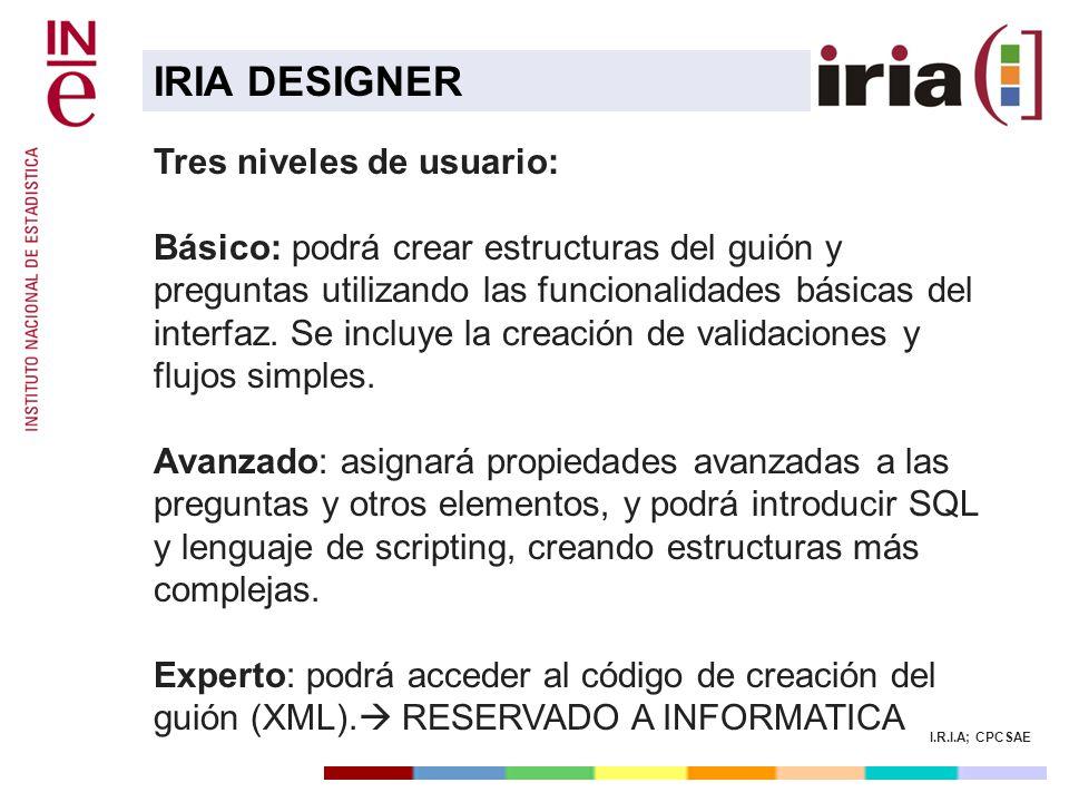 IRIA DESIGNER Tres niveles de usuario: