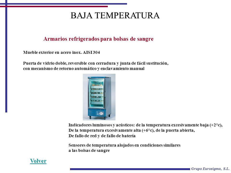 BAJA TEMPERATURA Armarios refrigerados para bolsas de sangre Volver