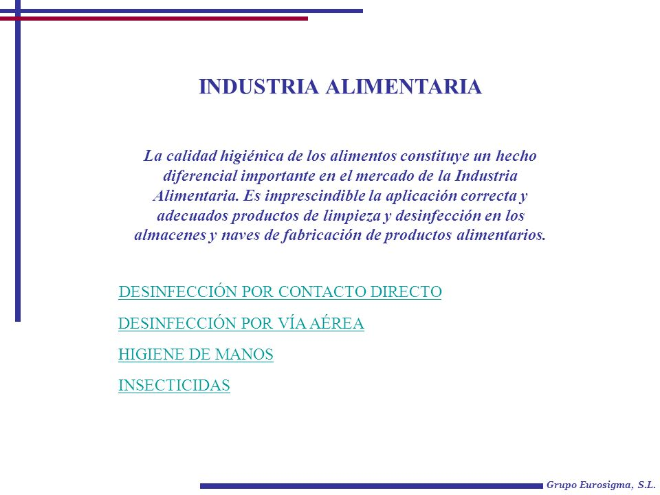 Industria alimentaria ppt descargar for Manual de limpieza y desinfeccion en industria alimentaria