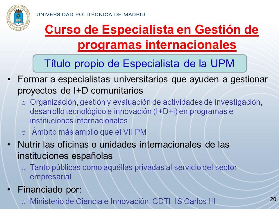 Curso de Especialista en Gestión de programas internacionales