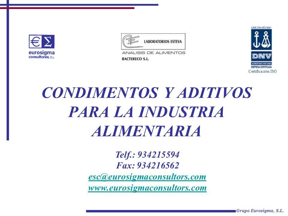 CONDIMENTOS Y ADITIVOS PARA LA INDUSTRIA ALIMENTARIA