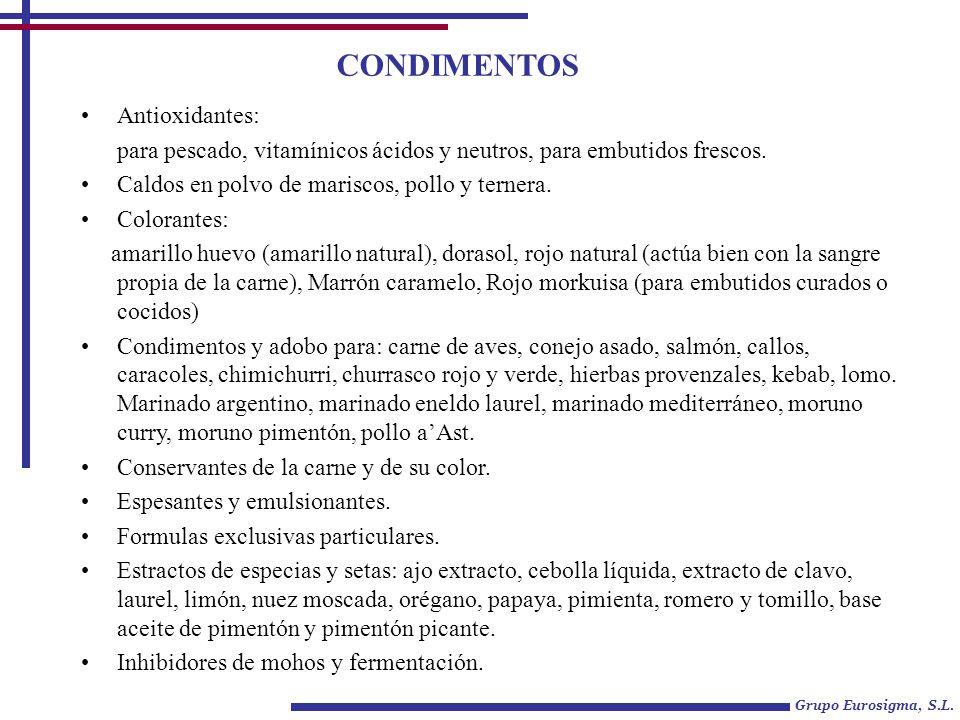 CONDIMENTOS Antioxidantes: