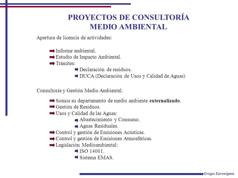 PROYECTOS DE CONSULTORÍA MEDIO AMBIENTAL