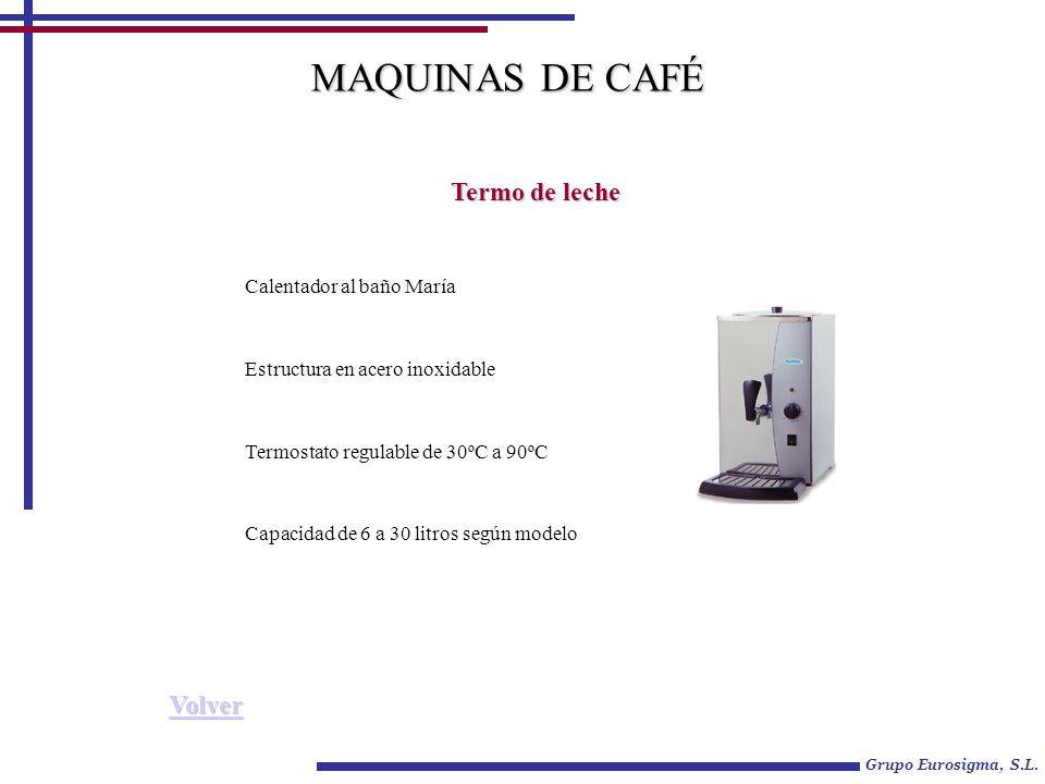 MAQUINAS DE CAFÉ Termo de leche Volver Calentador al baño María