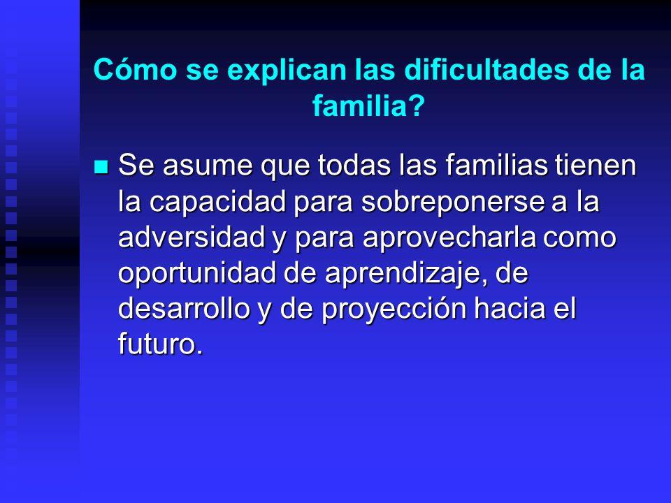 Cómo se explican las dificultades de la familia