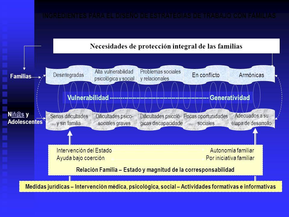 Necesidades de protección integral de las familias