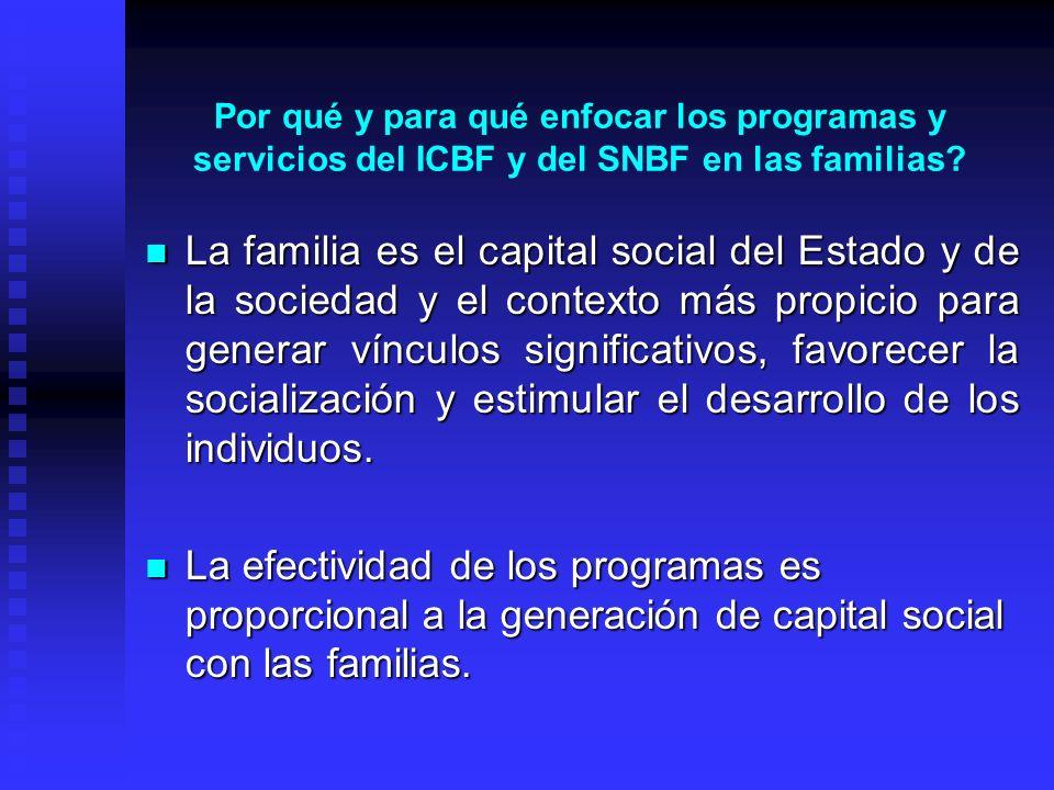 Por qué y para qué enfocar los programas y servicios del ICBF y del SNBF en las familias