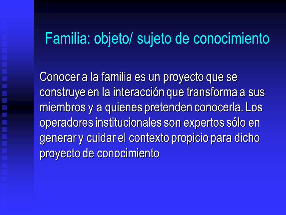 Familia: objeto/ sujeto de conocimiento