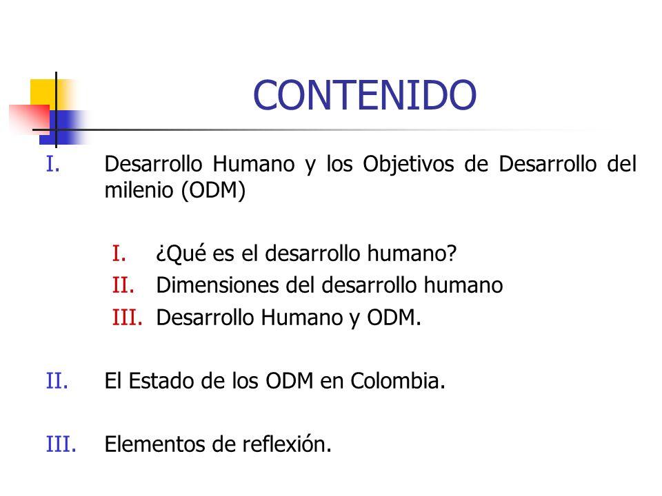 CONTENIDO Desarrollo Humano y los Objetivos de Desarrollo del milenio (ODM) ¿Qué es el desarrollo humano