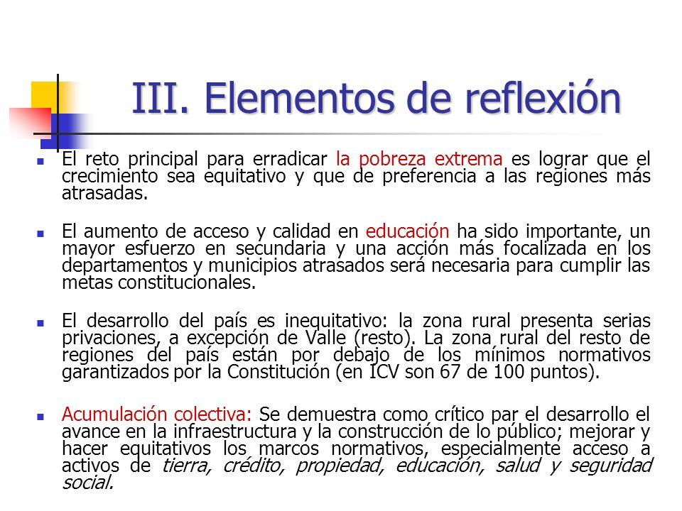 III. Elementos de reflexión
