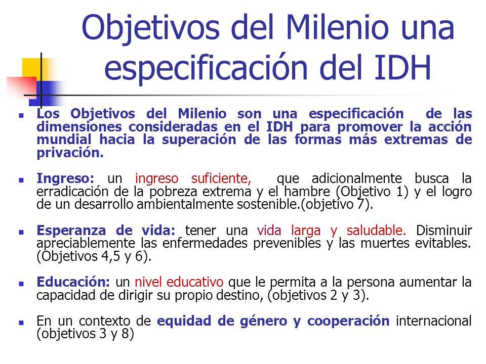 Objetivos del Milenio una especificación del IDH