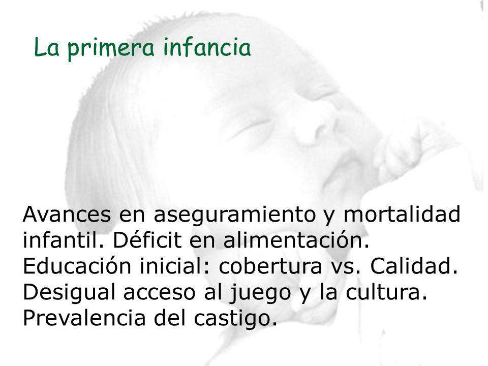 La primera infanciaAvances en aseguramiento y mortalidad infantil. Déficit en alimentación. Educación inicial: cobertura vs. Calidad.