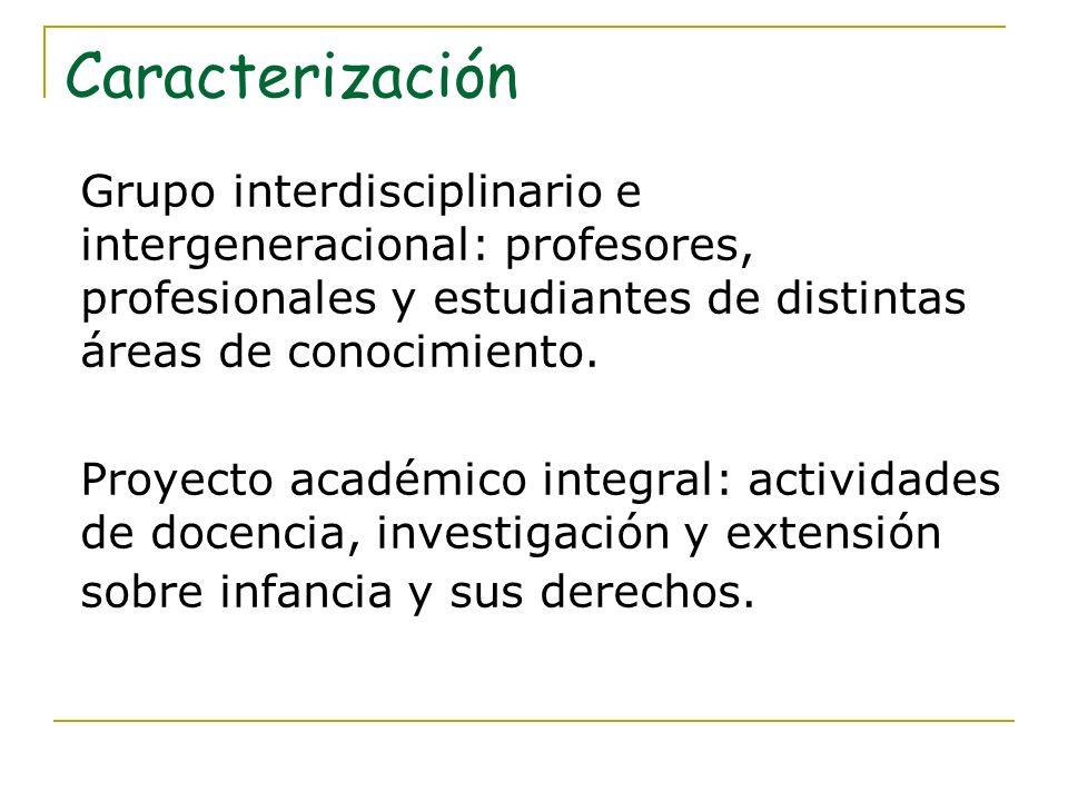 Caracterización Grupo interdisciplinario e intergeneracional: profesores, profesionales y estudiantes de distintas áreas de conocimiento.