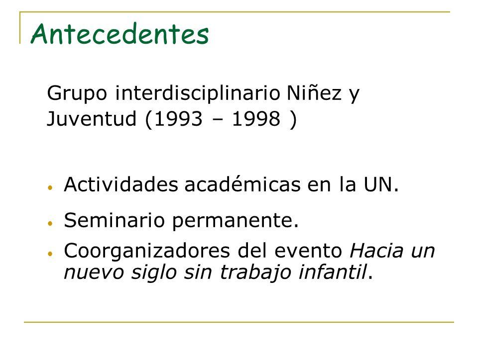 Antecedentes Grupo interdisciplinario Niñez y Juventud (1993 – 1998 )