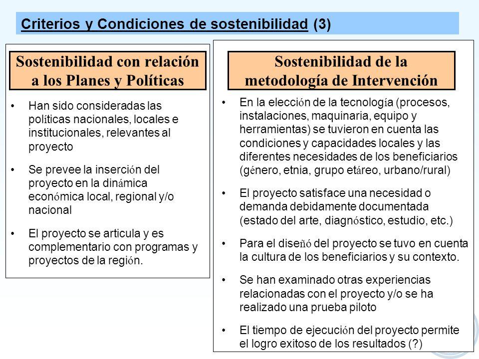 Sostenibilidad con relación a los Planes y Políticas