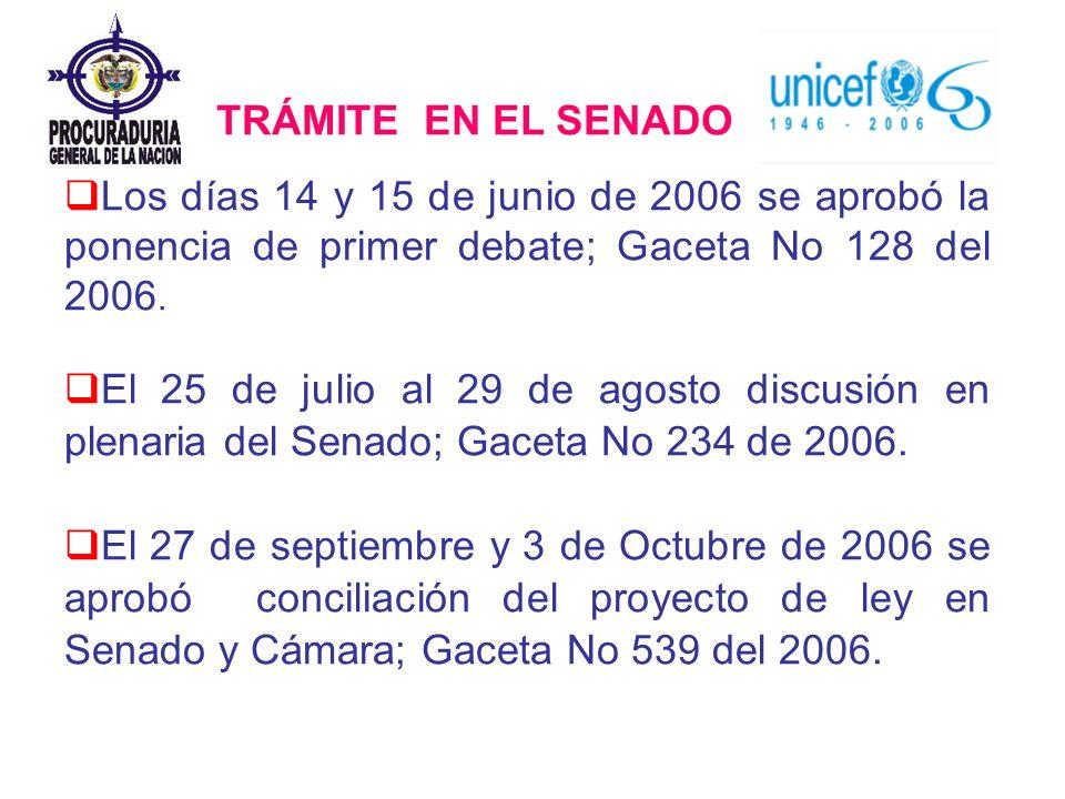 TRÁMITE EN EL SENADO Los días 14 y 15 de junio de 2006 se aprobó la ponencia de primer debate; Gaceta No 128 del 2006.