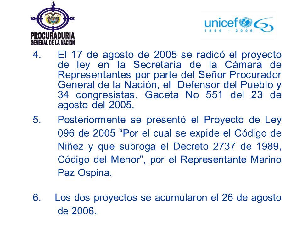 4. El 17 de agosto de 2005 se radicó el proyecto de ley en la Secretaría de la Cámara de Representantes por parte del Señor Procurador General de la Nación, el Defensor del Pueblo y 34 congresistas. Gaceta No 551 del 23 de agosto del 2005.