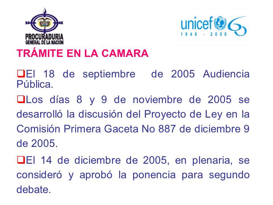 TRÁMITE EN LA CAMARA El 18 de septiembre de 2005 Audiencia Pública.