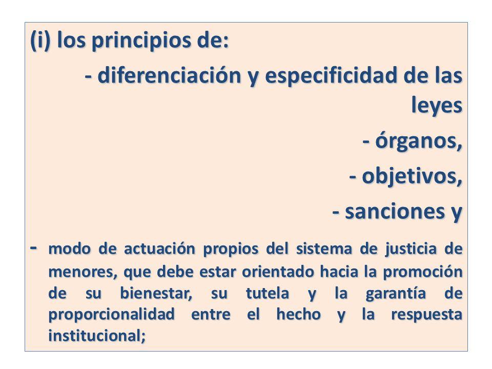 (i) los principios de:- diferenciación y especificidad de las leyes. - órganos, - objetivos, - sanciones y.