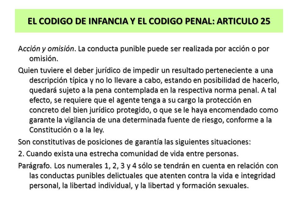 EL CODIGO DE INFANCIA Y EL CODIGO PENAL: ARTICULO 25