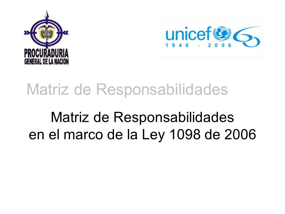 Matriz de Responsabilidades en el marco de la Ley 1098 de 2006