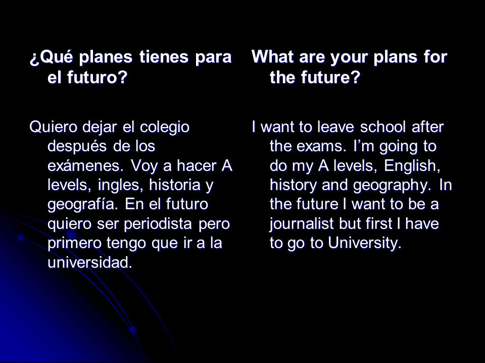 ¿Qué planes tienes para el futuro What are your plans for the future